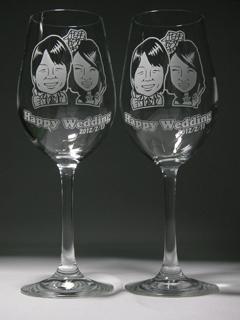 似顔絵ワイングラス 結婚お祝い