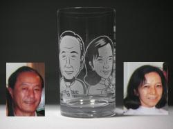 似顔絵グラス(結婚式両親贈呈用1)